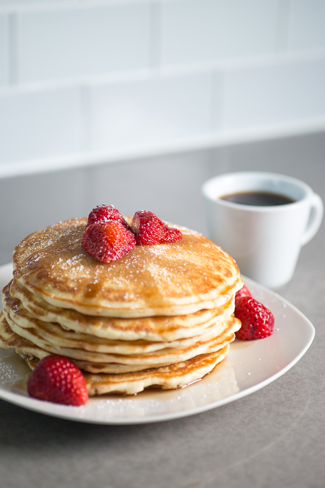 Kansas City Food Photographer - Strawberry Pancakes and Coffee -